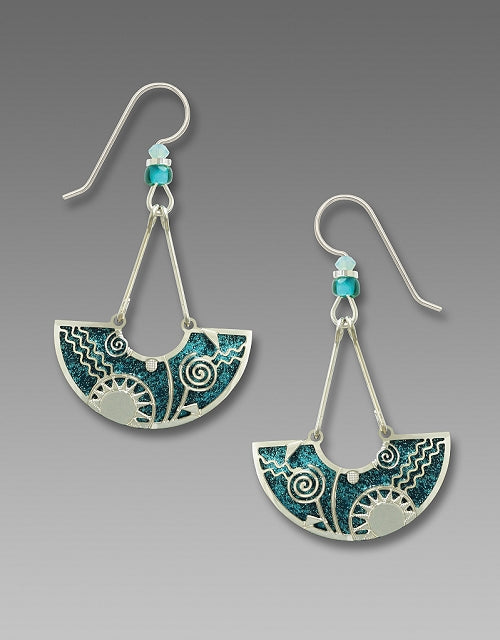 7796 Deep Teal Celestial Swing Earrings by Barbara MacCambridge - © Blue Pomegranate Gallery