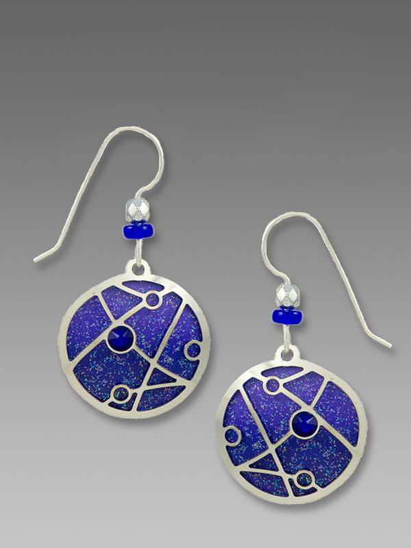 7851 Dark Violet Circle Deco Overlay Earrings by Barbara MacCambridge - © Blue Pomegranate Gallery