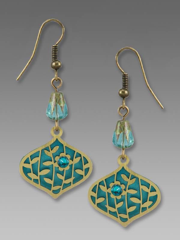 7851 Deco Teardrop with Leaves and Flower Earrings by Barbara MacCambridge - © Blue Pomegranate Gallery