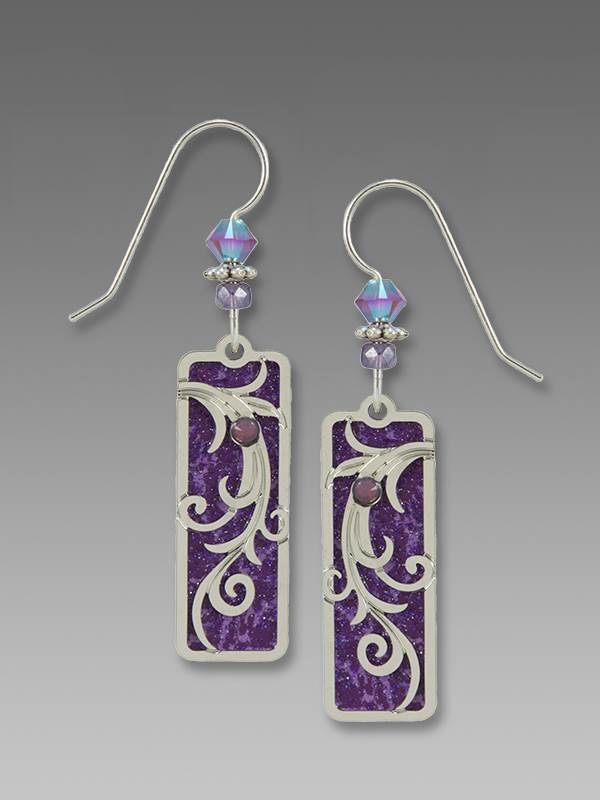 7862 Tendrils' Overlay on Purple Column Earrings by Barbara MacCambridge - © Blue Pomegranate Gallery