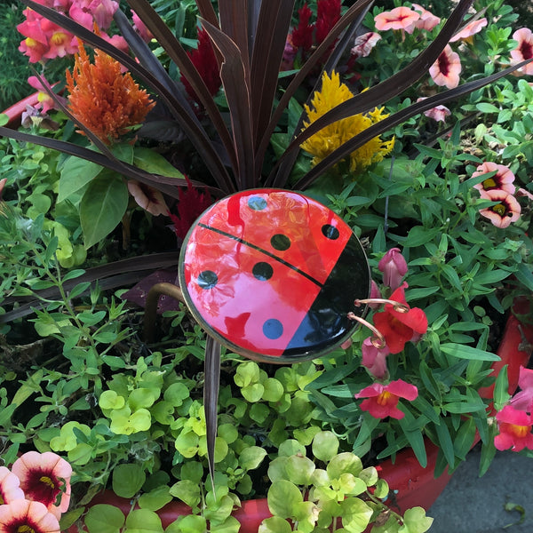 Ladybug Bobble Garden Stake - © Blue Pomegranate Gallery