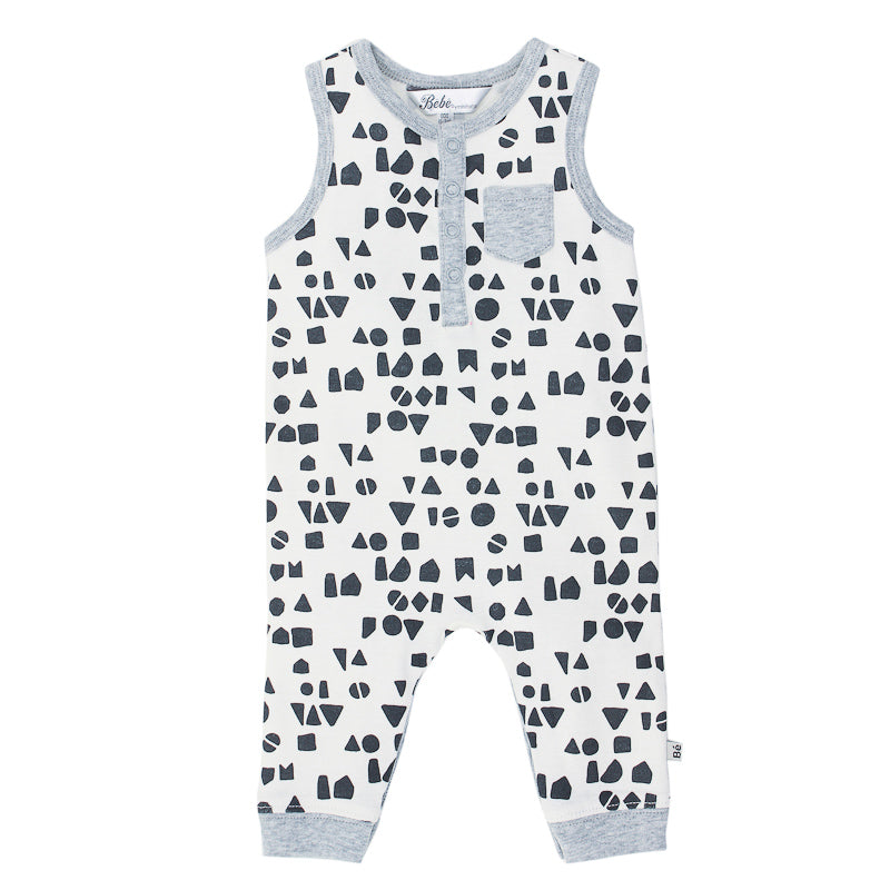 Bebe Hank Geo No Sleeve Long Romper - Hank Geo Onesies Bebe - Little Styles