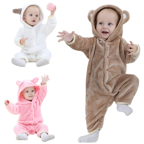 Brand Designer Soft Flannel Baby Pajamas Boy Girls Sleepwear Hooded Romper