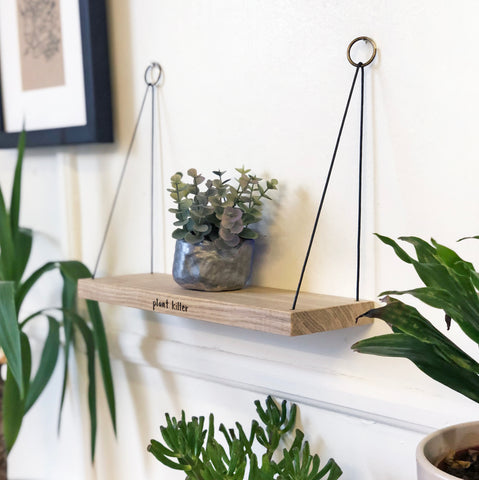Mini 'Plant Killer' Hanging Oak Shelf
