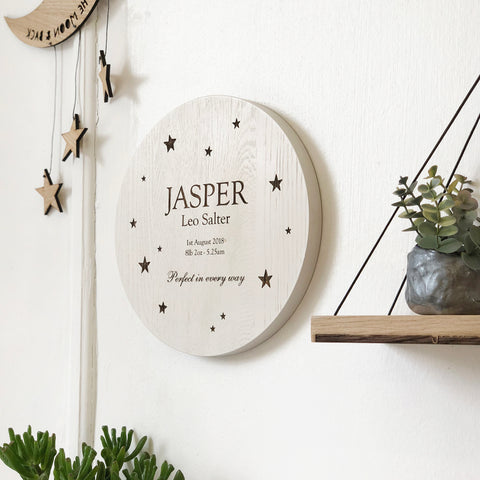Oak Engraved Starry Baby Wall Plaque