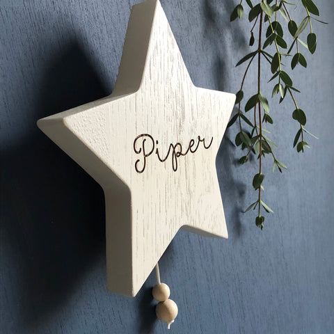 Wooden Musical Star Name Wall Hanging