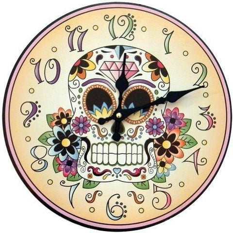 1 X Day Of The Dead Clock Skeleton Flowers Halloween Mexican Tradition Artwork, Clock, fessonline, FESSONLINE