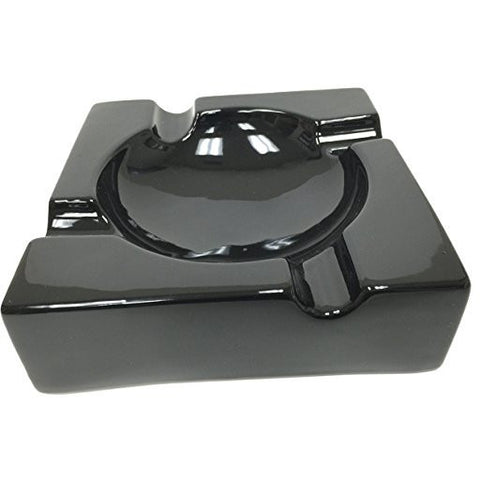 "8"" Black Ceramic Cigar Ashtray for Patio / Outdoor Use (4 Cigar Rest), , FESSONLINE, FESSONLINE"