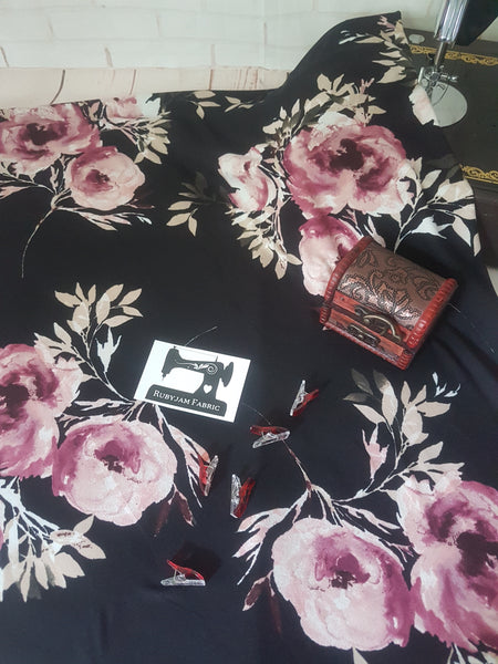 Large Scale Pink Floral on Black - Double Brushed Poly Lycra - 150cm wide