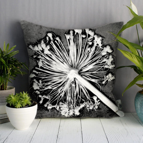 From Loft to loved - Gillian Arnold - 45cm velvet cushion - duck feather inner - Sedgefield, County Durham - Alliums - monocrome - grey, white and black