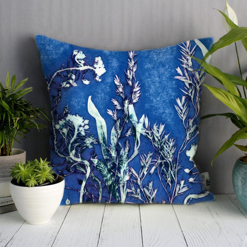 From Loft to loved - Gillian Arnold - 45cm velvet cushion - duck feather inner - Sedgefield, County Durham - Blue landscape - blue and green ferns