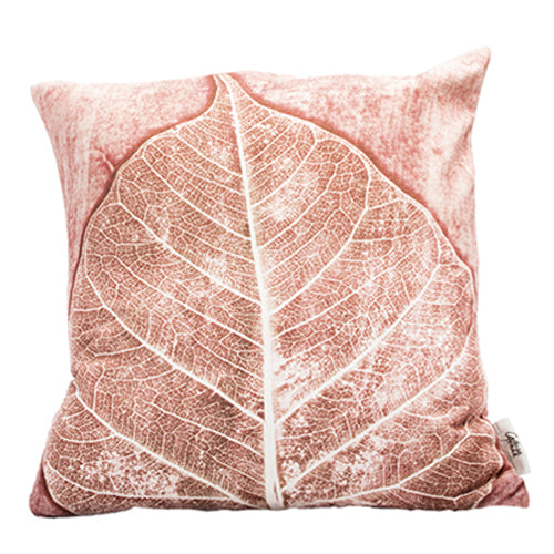From Loft to loved - Gillian Arnold - 45cm velvet cushion - duck feather inner - Sedgefield, County Durham - Burnt Skeletal - pink and white leaf print