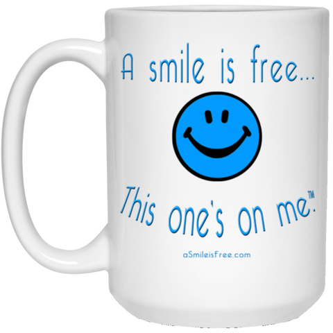 21504 15 oz. White Mug Blue Smile