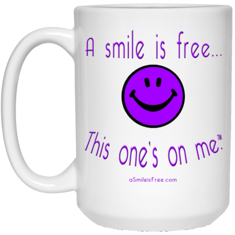 21504 15 oz. White Mug Purple Smile