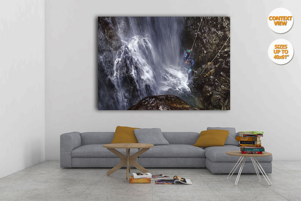 Great waterfall in Caldares Canyon, Pyrenees, Spain. | Hanged in Living room.