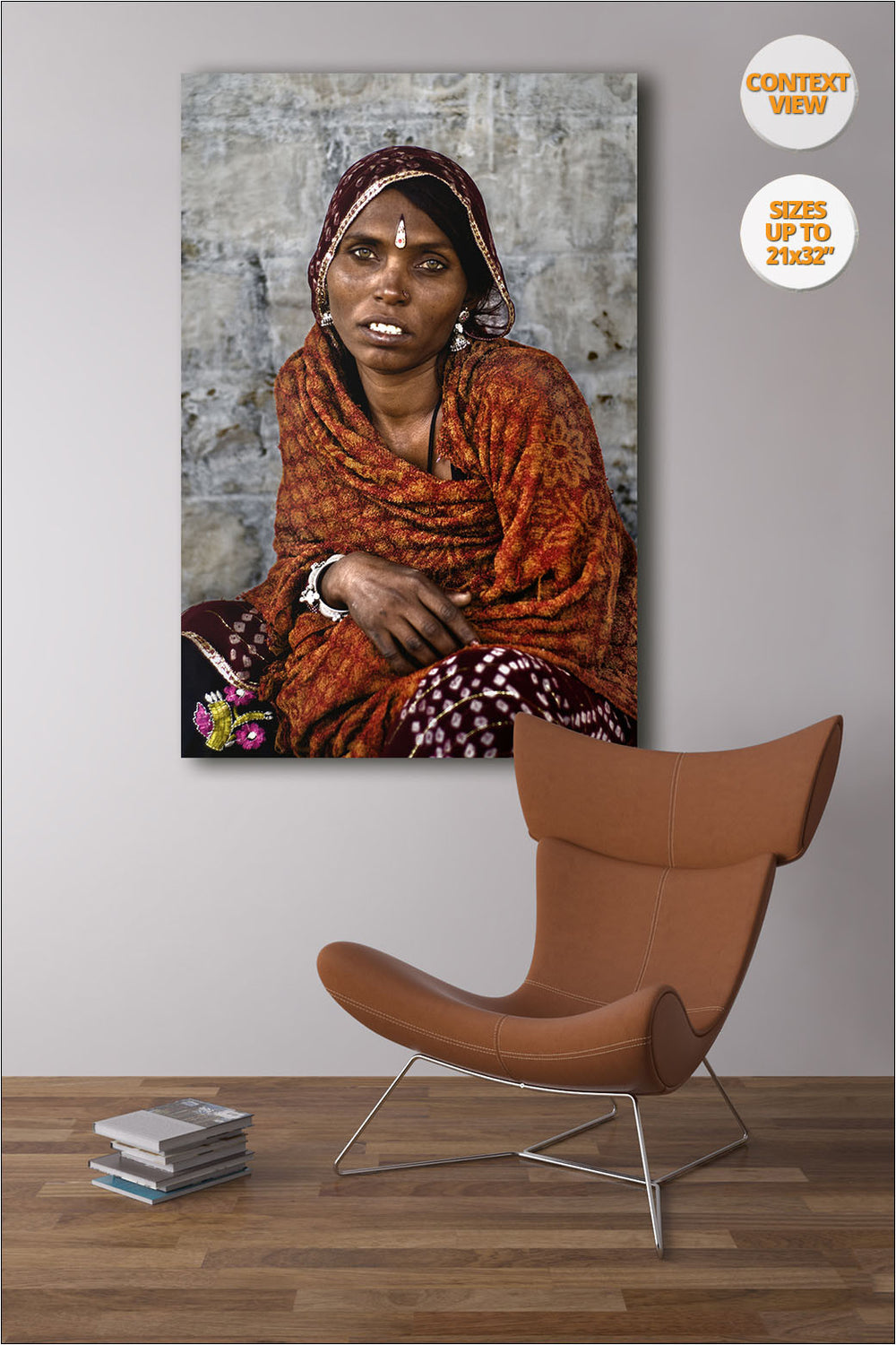 Portrait of Rajastani woman, Pushkar Camel Fair, Rajastan. | View of the Print hanged in reading Room.