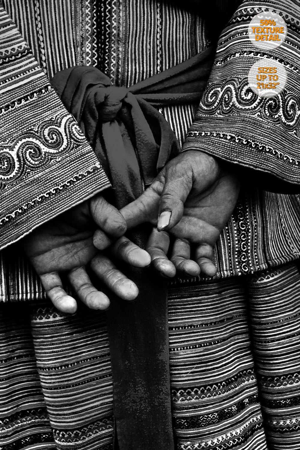 Detail of hands of a Hmong woman, Bac Ha, Vietnam.