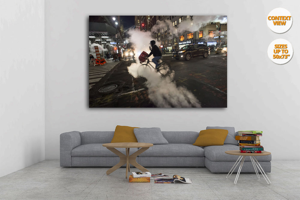 Steam in the 42nd. St., Manhattan, New York. Hanged in a living room.
