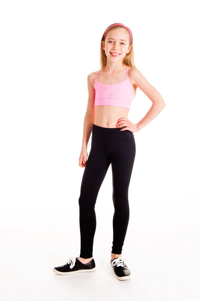 Active 3 Pack - Light Pink and Teal Half Top + Black Leggings