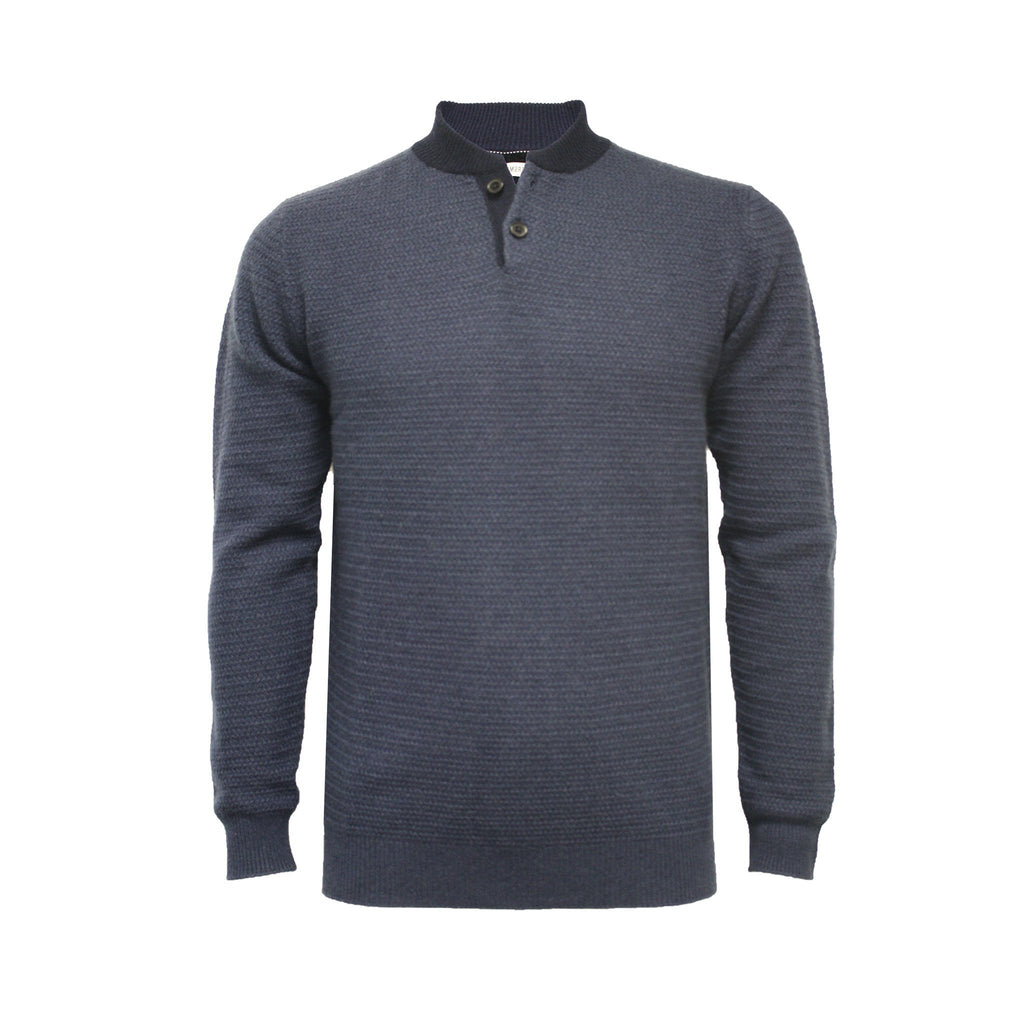 Navy Men´s Cashmere Button Neck Sweater Hunter - Hommard