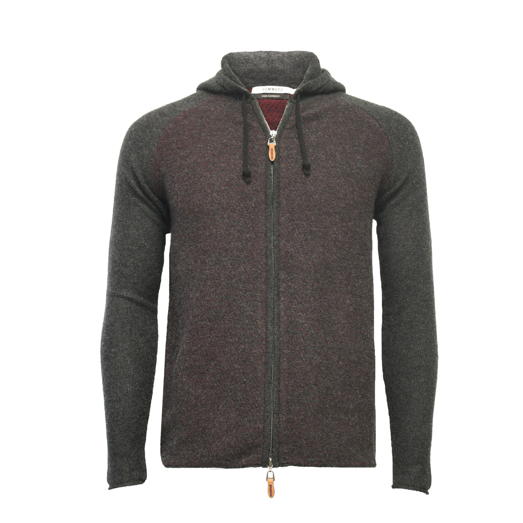 Red Charcoal Men´s Cashmere Hooded Zipper Sweater in Diagonal Stitch Coomba - Hommard