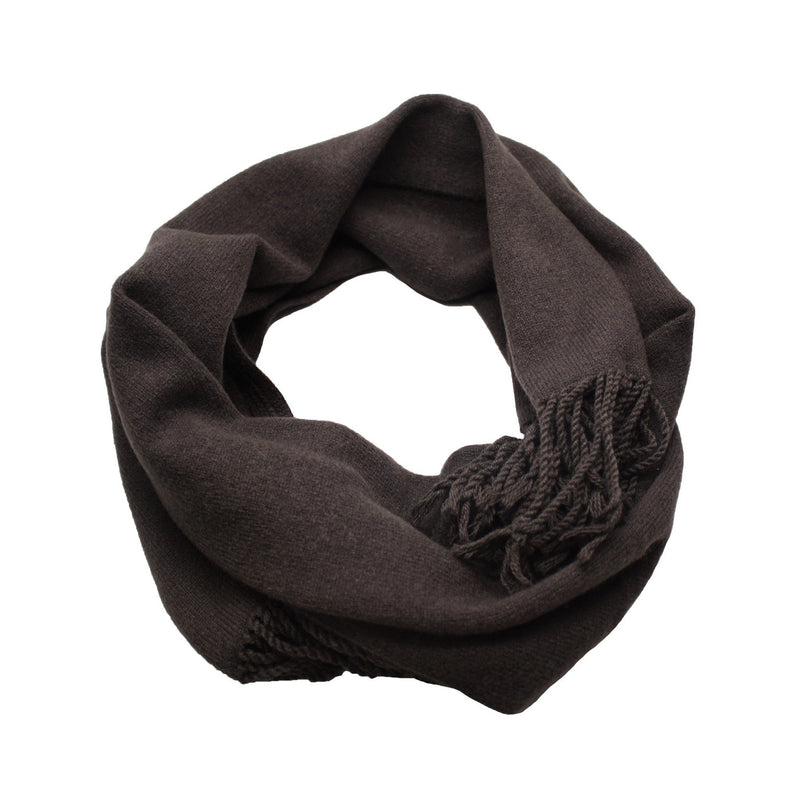 Charcoal Cashmere Scarf Light Weight Knitted - Hommard
