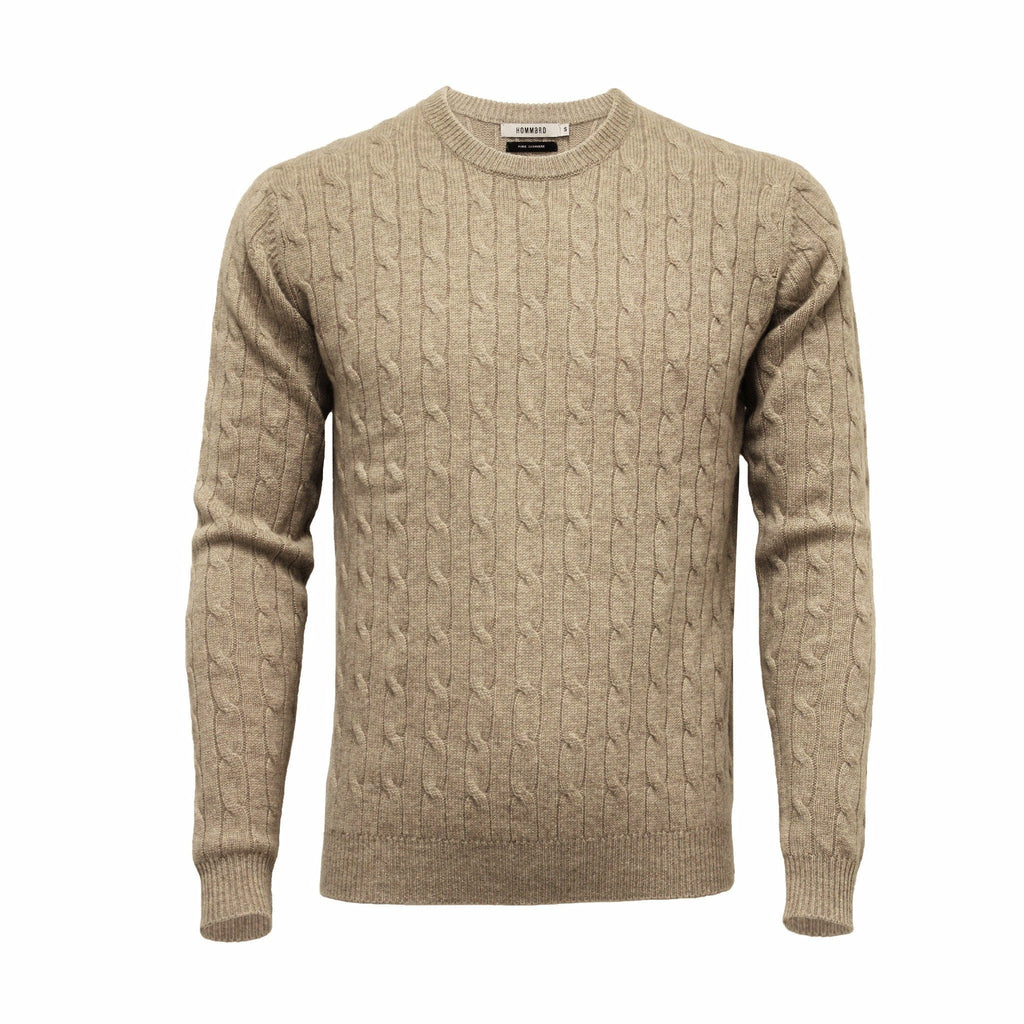Camel Men´s Cashmere Crew Neck Cable Sweater - Hommard