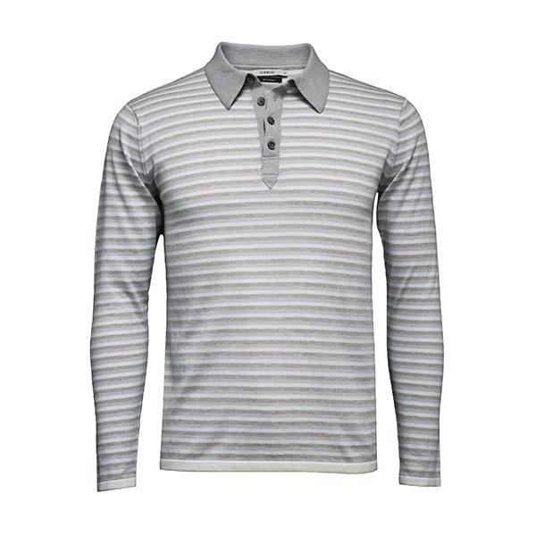Blue grey Men´s Striped Long Sleeve Polo Shirt - Hommard