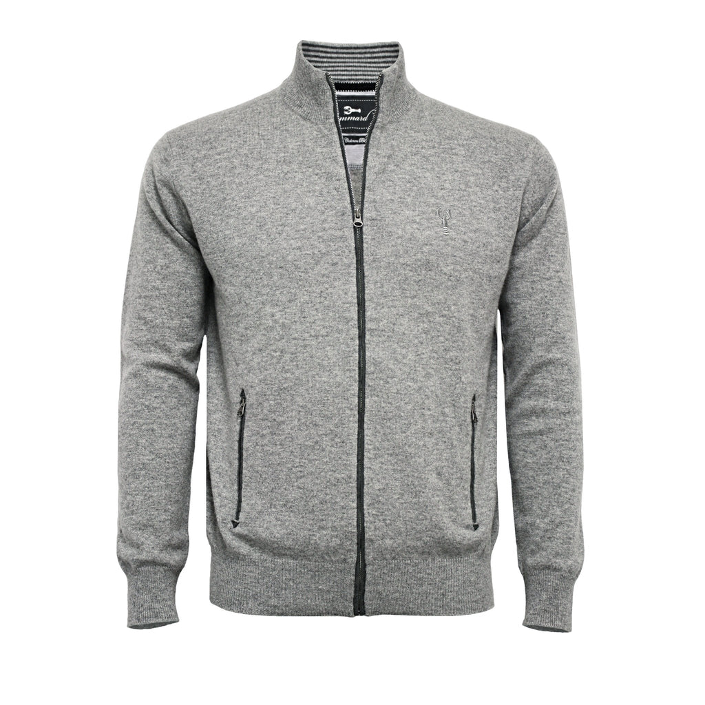 Silver Grey Men´s Cashmere Zipper Cardigan Porto - Hommard