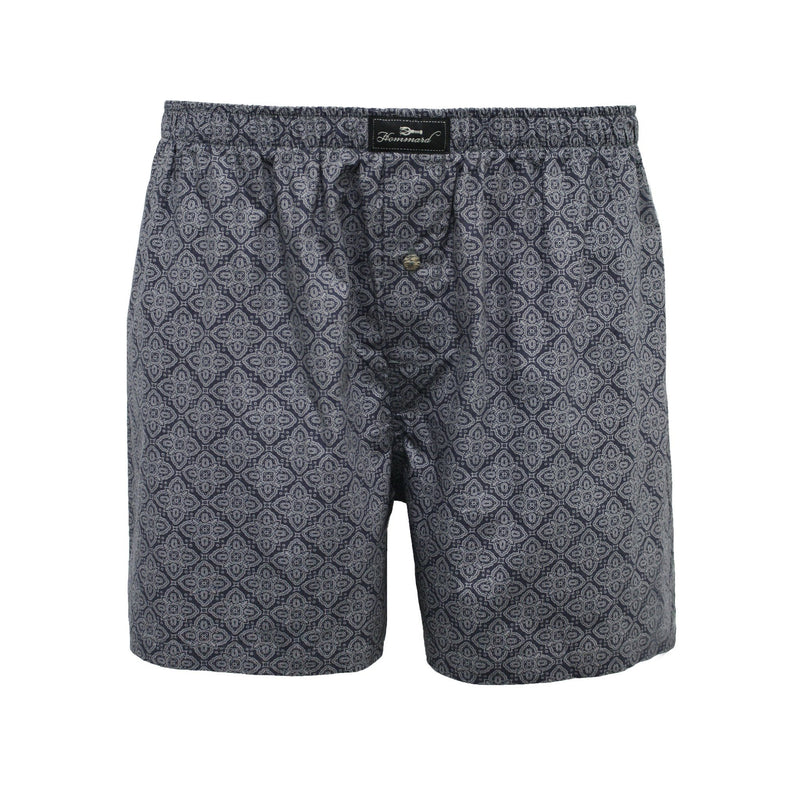 Grey Paisley Men´s Woven Cotton Boxer Shorts - Hommard