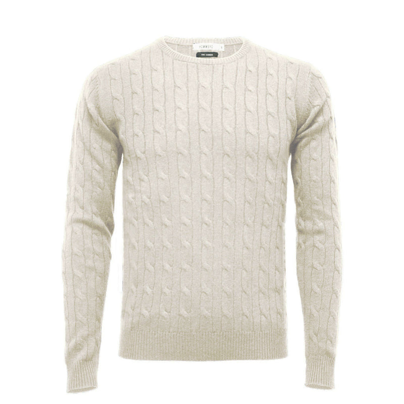White Men´s Cashmere Crew Neck Cable Sweater - Hommard