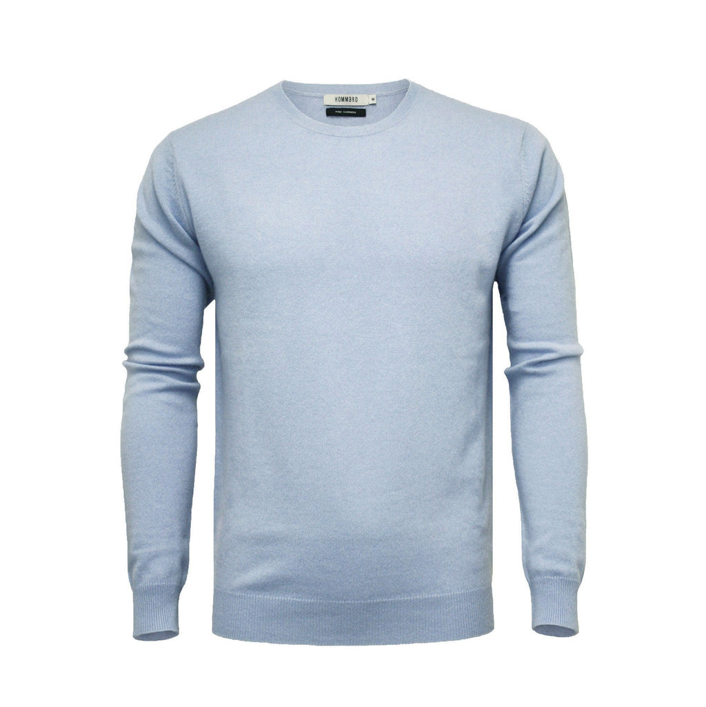 Men´s Cashmere Crew Neck Sweater Light Blue - Hommard