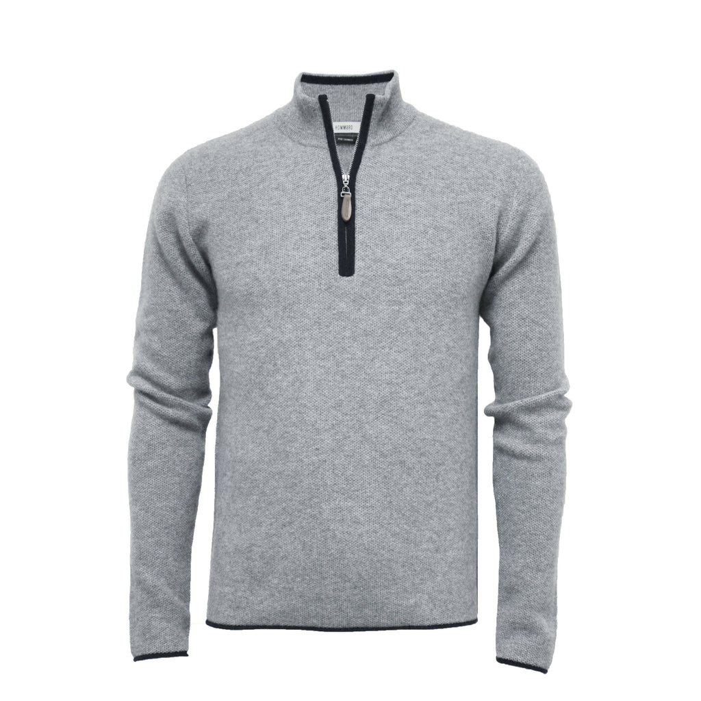 Silver Grey Men´s Cashmere Zip Neck Sweater Verbier in pique stitch - Hommard