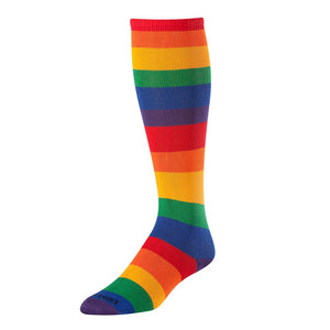 Krazisox Rainbow Stripes Over the Calf Socks Small youth shoe 12 - 4 Women 4 - 6 - AtlanticCoastSports