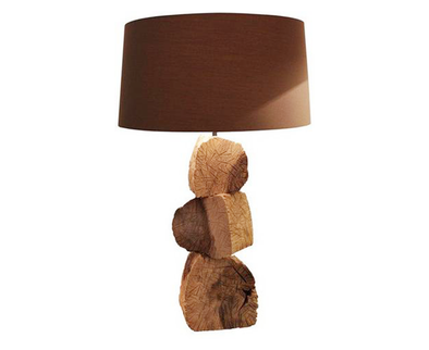110074 Beaten Log Lamp w/ brown shade (210499)