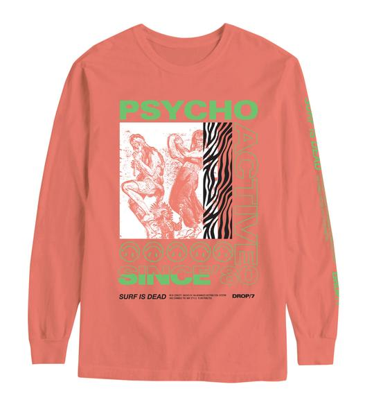 Surf is Dead: Psycho Active L/S Tee (Bright Salmon)