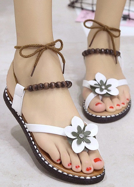 Women Flat Shoes Summer Ladies Sandals Perfect Present SIZE US4-US9 White