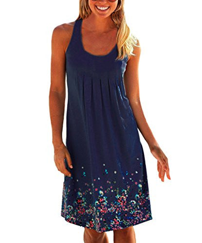 Women Summer Casual Evening Party Printing Beach Dress Short Mini Dress S-5XL