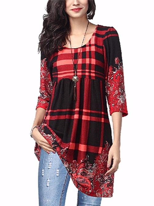 Plaid Paisley Notch Neck Bell-Sleeve Tunic - Plus