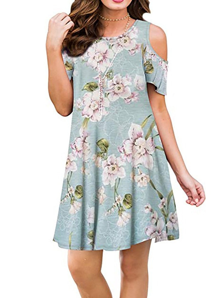 Women's Floral Printed Cold Shoulder Short Sleeve Tunic Dress With Pockets