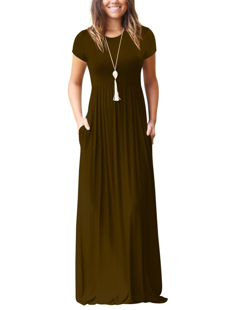 Women's Short Sleeve Maxi Dress with Pockets Plain Loose Swing Casual Floor Length Long Dresses