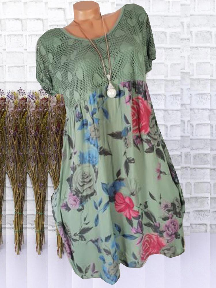 Women Plus Size Floral Printed Short Sleeve Lace Stitching Dresses