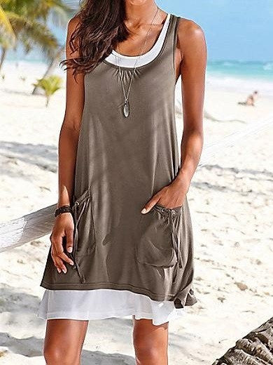 Layered 2 in 1 Beach Summer Dress Khaki Blue Green Purple Black Dress