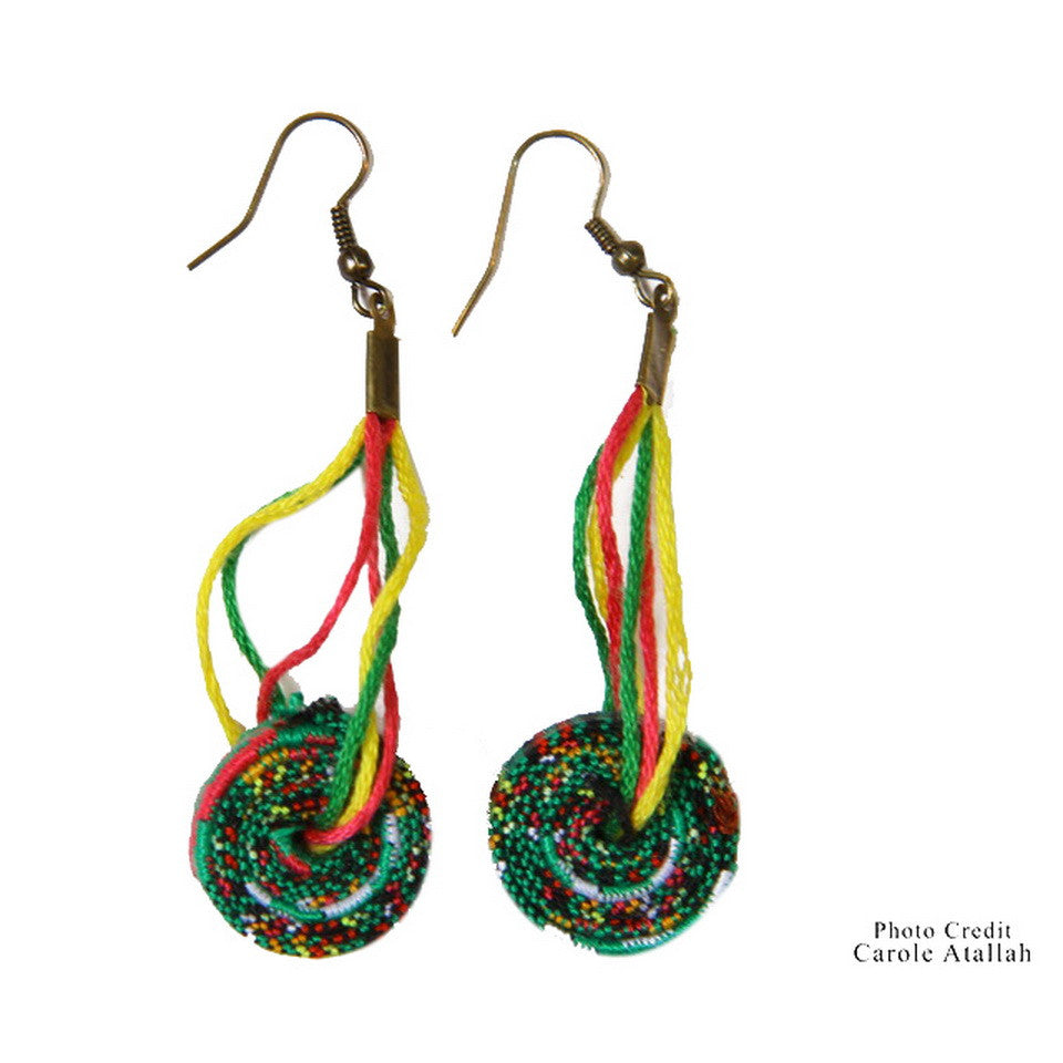 Spiral Fabric Long Earrings - Green