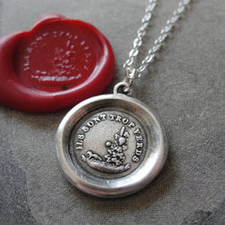Aesop Fable Wax Seal Necklace Fox and Grapes - antique wax seal charm jewelry French motto Sour Grapes