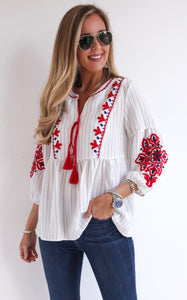 CRYSTAL EMBROIDERED TOP