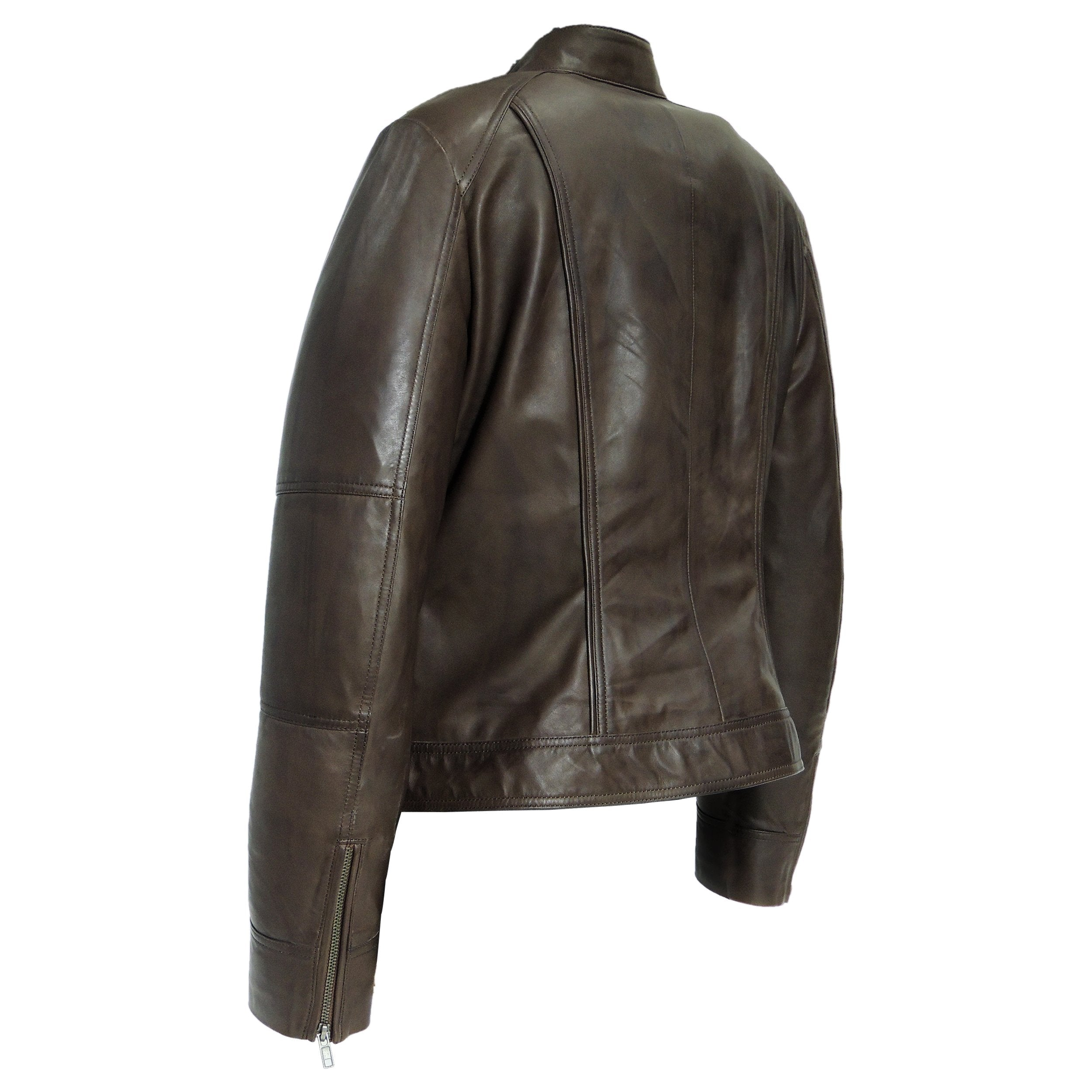 Womens Brown Medium Leather Jacket - fadcloset
