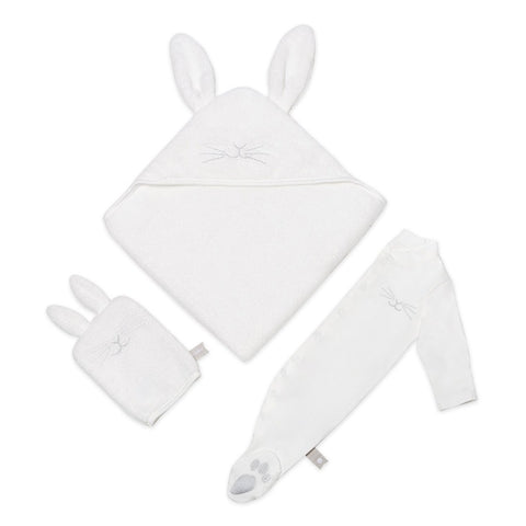 Hooded towel wash mitt and sleep suit in a bunny design, white