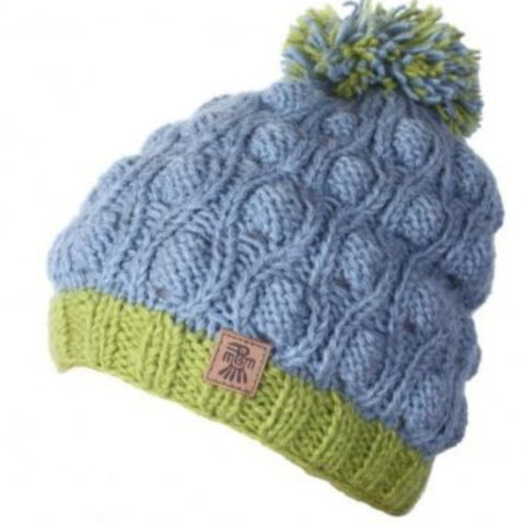 Wool hat with bobble blue/green