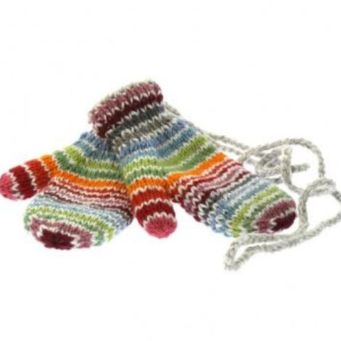 Multi coloured stripe mittens with string